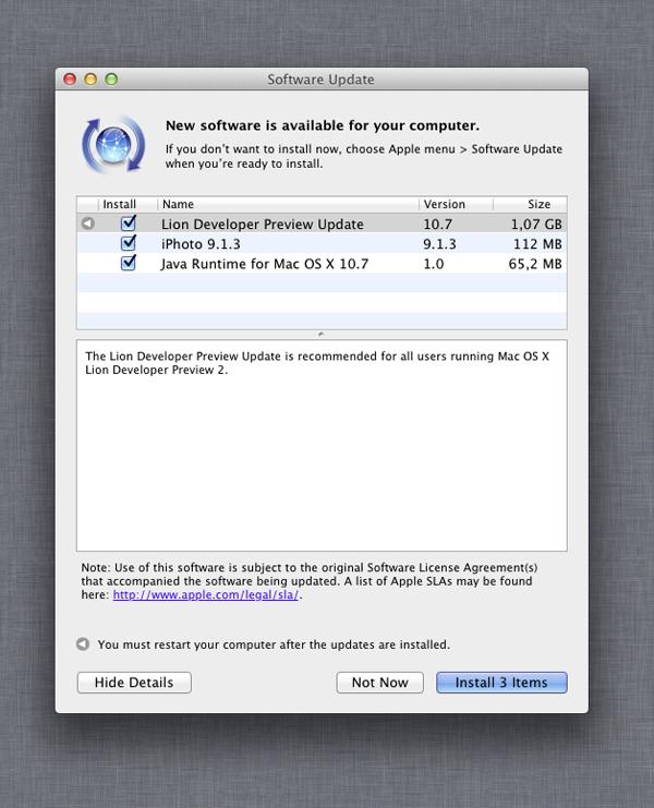 SW Update Lion Developer Preview 3