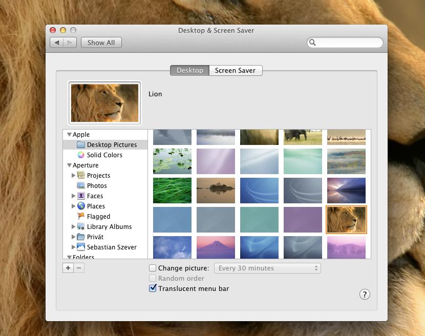 Mac OS X Lion háttérképek