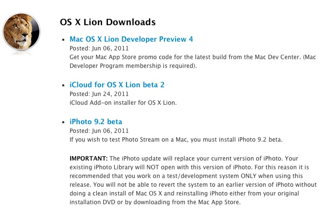 iPhoto, iCloud download for Lion