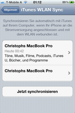iTunes WLAN Sync