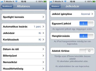 iPhone beállítások