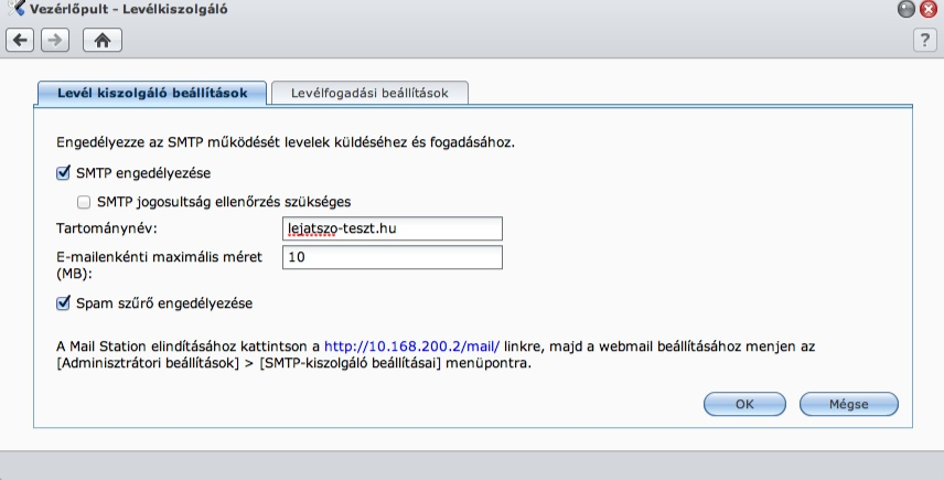 SMTP beállítások - Synology
