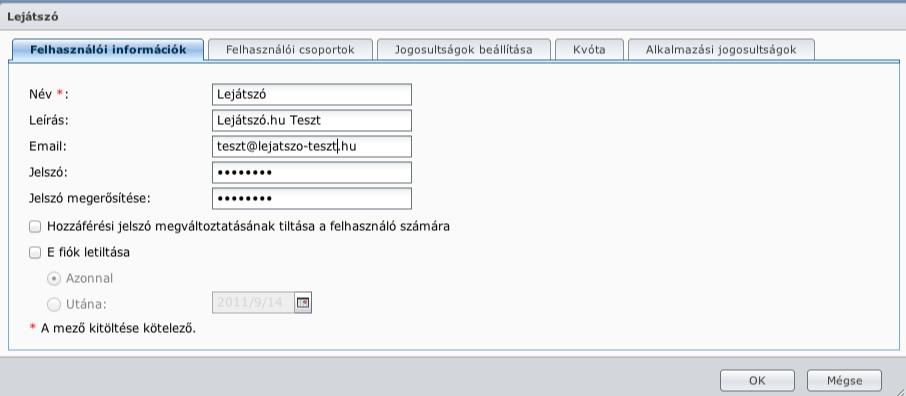 Felhasználói beállítások - Synology